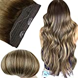 Fshine Halo Hair 16 Inch Secret Wire Fish Line Hair Color 4 Medium Brown Fading to 24 Blonde And 4 Real Human Hair Extensions Brazilian Straight Hair for Women