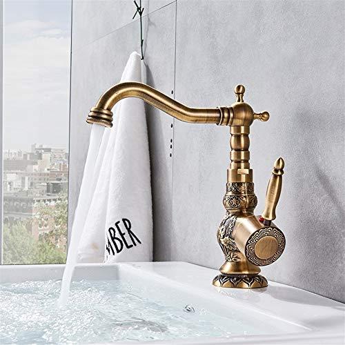 Grifo Ntique baño de latón grifo de la Cuenca del tallado de punta larga Boquilla de lavado fregadero golpecito de 360 rotaciones Grifo monomando lavabos (Color : High Original Brass)