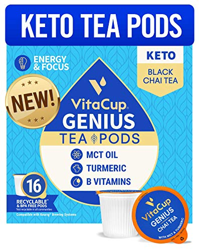 VitaCup Genius Chai Tea Pods 16ct w/ KETO MCT Oil, Turmeric, Cinnamon, & Vitamin for Energy and Focus in Recyclable Single Serve Pod Compatible with K-Cup Brewers Includi...