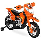 Best Choice Products Kids 6V Ride On Motorcycle w/ Training Wheels, Lights/Sounds, Charger, Orange
