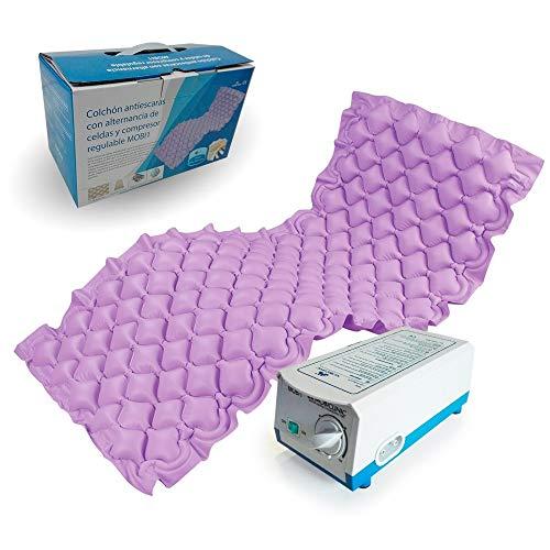 Mobiclinic, Mobi 1, Colchón antiescaras de aire alternante, con motor compresor, PVC médico ignífugo, 200 x 90 x 7 cm, 130 celdas, escaras de grado 1, color Lila