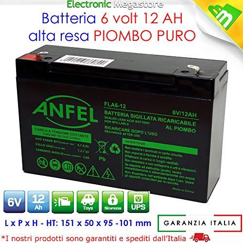 BATTERIA AL PIOMBO RICARICABILE 6 V 12 AH 151X51X93mm PER MOTO PEG PEREGO FASTON