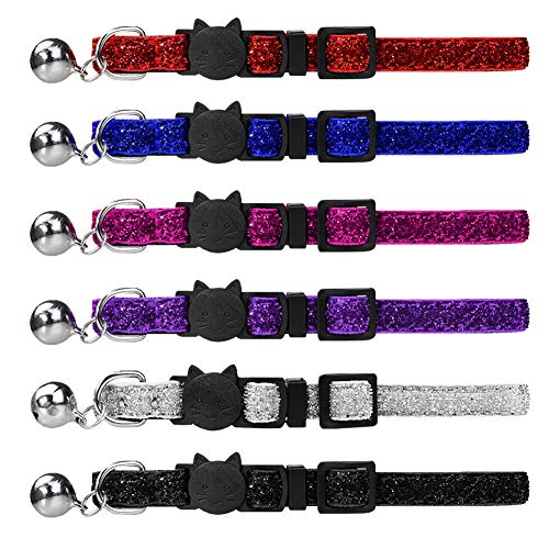 Dynmeow 6 Pack Bling Bling Pattern Cat Collar Breakaway with Removable Bell