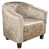 HIFUAR 1 Pieza Funda de Sillón Chesterfield Terciopelo Cubre Sofa Elásticas para Salón Dormitorio Recepción Contador,Extraíbles y Lavables, Funda Protectora para Butaca Universal Caqui