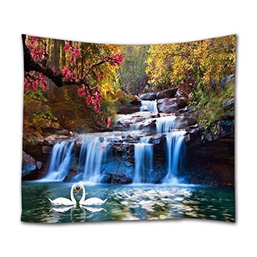 A.Monamour Wandteppiche Bunte Waldbäume Berg Wasserfall Schwan Paare In See Natur Landschaft Drucken Boho Hippie Mandala Wandbehang Tapisserie Wandkunst Dekore Stoff Tischdecke 153X203 cm