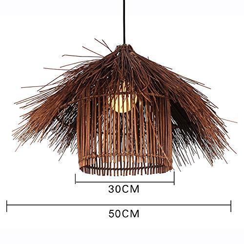 Rishx 50cm Nature Bamboo Restaurant Droplight Lustre Tricoté À La Main Herbe De Vigne Suspension Lumière Intérieur Plafond Décoration Suspension Lumière Lanterne (Color : Brown)