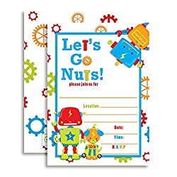 Let's go nuts robot birthday card invitations.