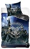 BERONAGE Harry Potter - Juego de cama reversible (135 x 200 + 80 x 80 cm, 100% algodón, renforcé, calidad HP Slytherin Gryffindor, Hufflepuff Ravenclaw Hogwarts, con cremallera, tamaño alemán 866