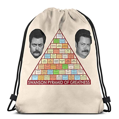 Ron Swanson'S Pyramid Of Greatness Drawstring Bag Sports Fitness Bag Travel Bag Gift Bag