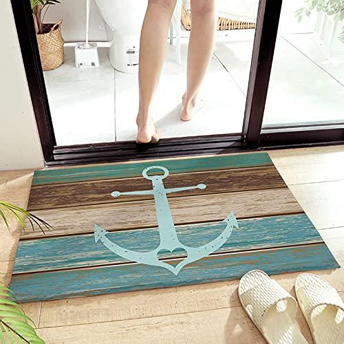 Alfombra de baño con diseño de corazón y ancla náutica, absorbente y peluda, para puerta delantera, felpudo de bienvenida, de grano de madera, suave, de 40,6 x 60,9 cm