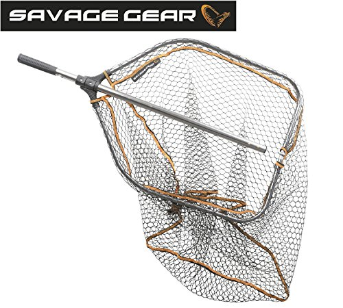 Savage Gear Tele Folding Rubbermesh XL 70x85cm Hechtkescher, Angelkescher zum Hechtangeln, Bootskescher, Kescher zum Spinnfischen, gummiertes Keschernetz