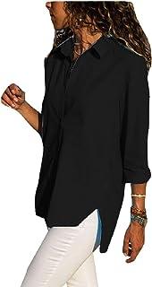 بلوزة Comaba النسائية ذات حاشية غير متماثلة وأكمام طويلة مقاس إضافي