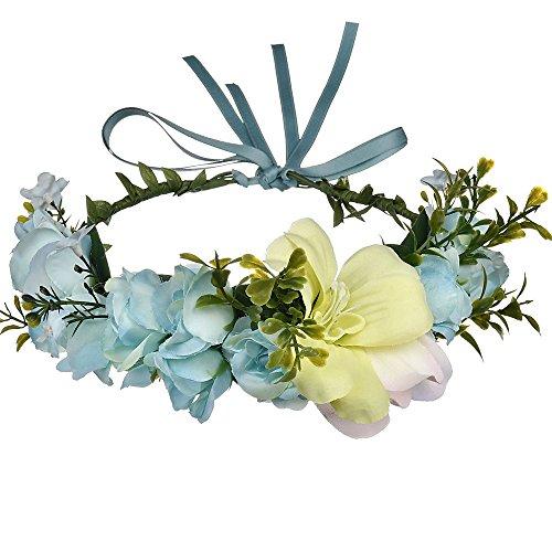 Diadema de Boda para Mujer, Casue Corona de Flores Diadema para el Pelo Diadema de Corona para Las Mujeres Flor de Rosa Corona Accesorios para el Cabello
