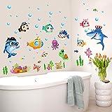 Ecoye Mar Peces Burbujas Oceano Desmontable Wallpaper Wall Stickers Pegatinas De Pared Decoración De Pared Para Cuarto De Baño Bebé Dormitorio De Los Niños