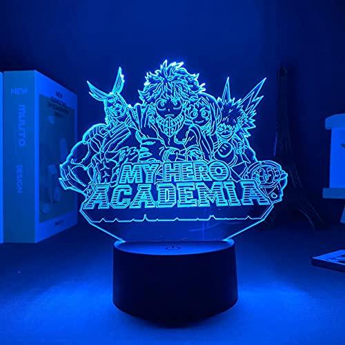Lámpara de noche 3D Anime Midoriya Izuku 3d lámpara My Hero Academia LED Night Light for boy Kids Bedroom Decor Birthday Gift Izuku Midoriya Table lámpara de regalo de Navidad 7 colores Touch