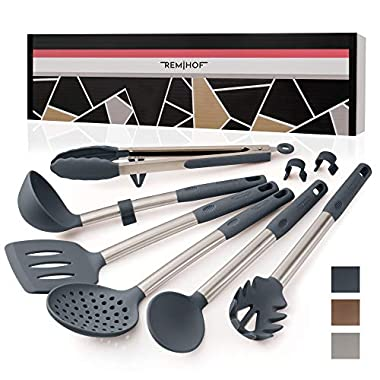 REMIHOF Silicone Kitchen Utensil Set - Nonstick Silicone and Stainless Steel Cooking Utensils - Spatula Turner Ladle Pasta Server - Best Culinary Gift Set (6pcs, DarkGrey)