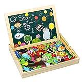 TONZE 175 Piezas Puzzles Pizarra Magnético Niños Caja Madera Rompecabezas Infantil...