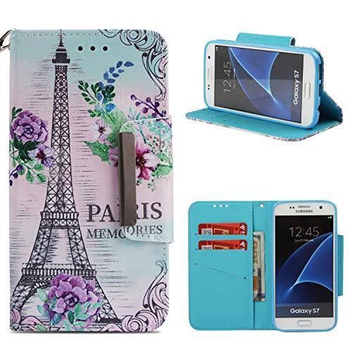 COZY HUT Samsung Galaxy S7 Hülle, Premium Leder Hülle Flip Case Tasche Hüllen mit Magnetverschluss Standfunktion Schutzhülle handyhüllen für Samsung Galaxy S7 - Paris
