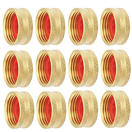 """LitOrange (12 Pack Lead Free Brass Garden Hose Female End Fitting Cap Set, Green Thumb Connect to GHT 3/4"""" Thread Hose Male and Spigot End with 12 Washers."""