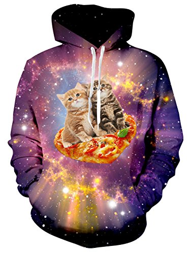 Raisevern - Sudadera unisex con capucha y bolsillos con cordón en 3D y terciopelo, pequeño gato pizzero