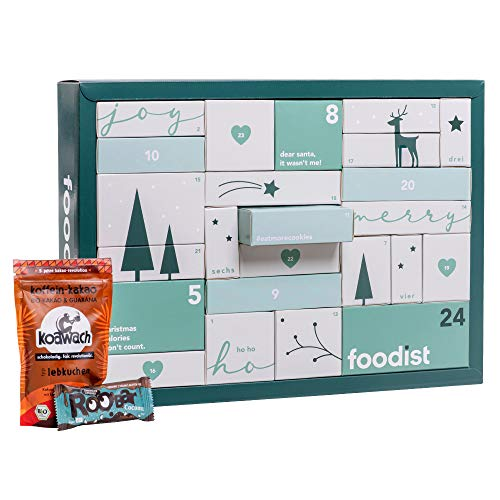Foodist Vegan Adventskalender 2020 - mit 24 köstlichen Snacks wie Chocolate Chips, Salty Chips, Peanut Butter Cups, Mandeln, Cookies, Riegeln uvm. - Geschenkidee für Naschkatzen inkl. Rezept -Büchlein