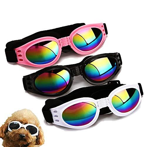Chulai - Occhiali da sole eleganti per cani, 3 pezzi, per cani e cani, impermeabili, antivento, protezione UV