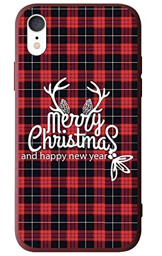 "BLLQ iPhone XR Case Christmas Design, Soft Silicone Slim Thin Fit Xmas Gift Case for iPhoneXR 6.1"" [XR Red-Black]"