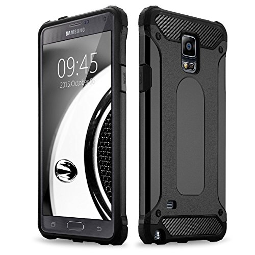 Note 4 case, Samcore Hybrid 2 in 1 Dual Layer Rugged Shockproof Case for Samsung Galaxy Note 4 case Cover (Black/Black)