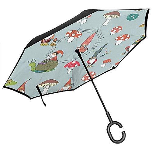 Double Layer Inverted Umbrella Mit C-förmigen Griff, Regenschirme Unisex Mit UV-Schutz Winddicht-Funky Cartoon Gartenzwerge