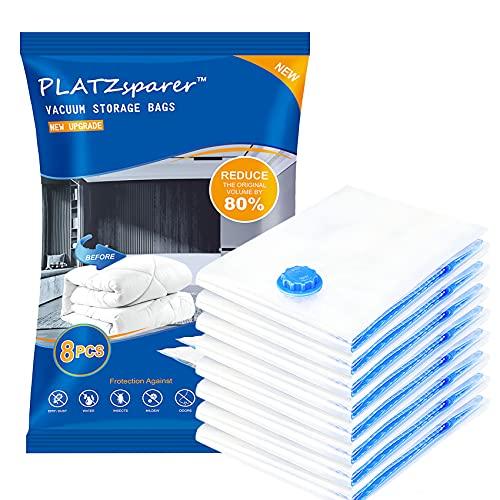 PLATZSPARER 8 bolsas de vacío (60 x 80 cm), reutilizables, 100 % herméticas y sin BPA, bolsas de almacenamiento de viaje, para edredón, almohadas, ropa de invierno