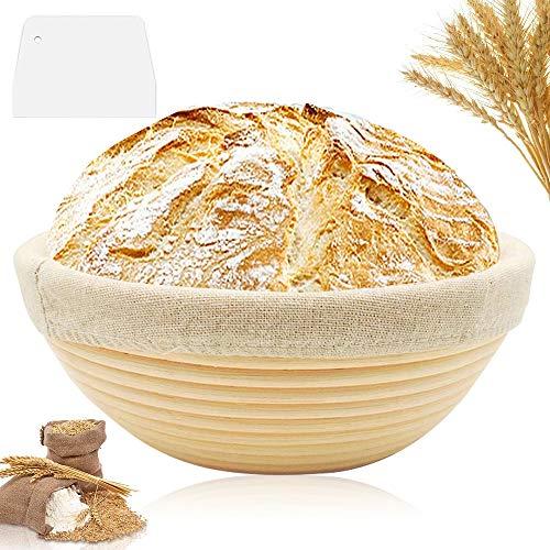 Gärkörbchen,Gärkörbchen mit Leineneinsatz,gärkörbchen rund 22cm,Brotschale Brotform Gärkorb Rund,Teigschaber Brotschale,Brotform Gärkorb Rund