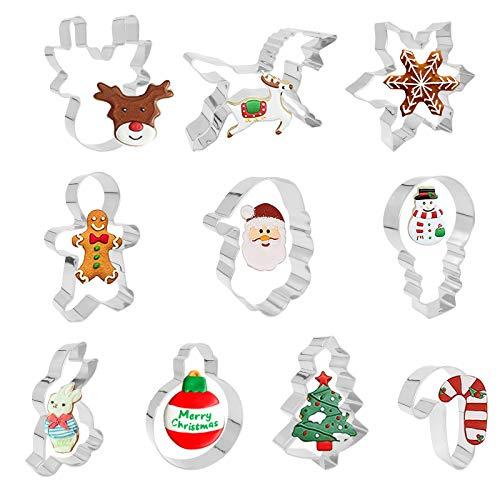 ShengRuHai 10Pcs Navidad Moldes de Galletas,Inoxidable Navidad Cortadores de Galletas -árbol de Navidad, Hombre de Pn de Jengibre, Papá Noel y Reno,unicornio,Copo de nieve,Conejo,Monigote de nieve etc