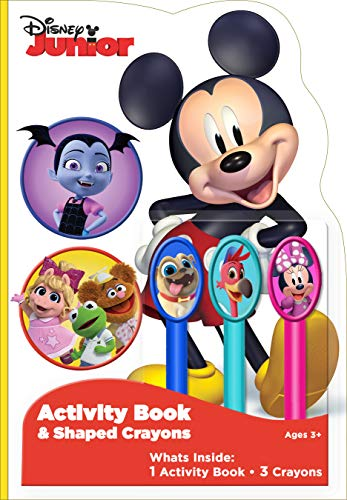 Disney JR 25-Page Shaped Coloring and Activity Book with 3 Character Crayons 49120 Bendon
