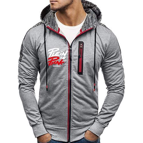 Eaylis Männer Gedruckter Knopfpullover spleißen Langarm-Kapuzenpullover Oberteile Bluse Lässige Jacken Mäntel