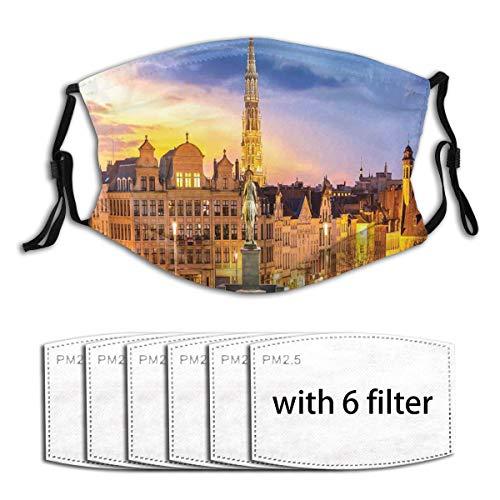 VICAFUCI Brüssel Citscape mit Denkmal Belgium Avenue Mittelalter im gotischen Stil Staubwaschbarer wiederverwendbarer Filter und wiederverwendbarer Mund Warmes winddichtes Baumwollgesicht