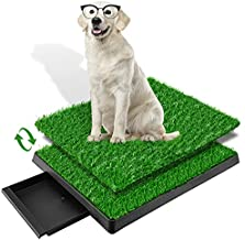laepow Dog Grass Pad with Tray, Puppy Potty Training Grass, Pet Toilet Portable Indoor Outdoor Dog Potty, 2 Packs Dog Grass Pee Pads, Alternative to Puppy Pads, Suitable for Medium and Small Dog
