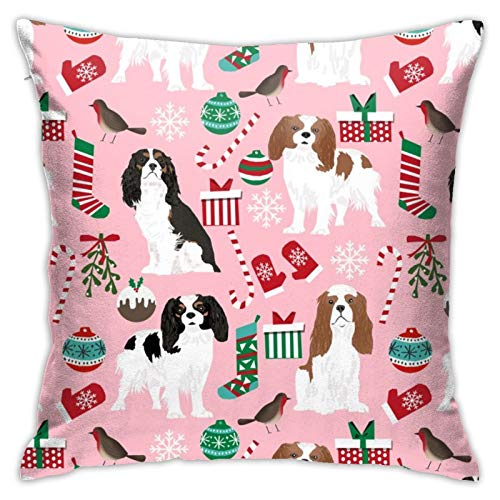 87569dwdsdwd Cavalier Christmas Cavalier King Christmas S Xmas Dog Dogs Cute Xmas S Square Pillow Case Home Sofa Decorative 18' X 18'Inch Ultra Soft Comfortable