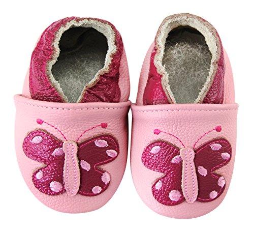 axy Chaussures en cuir pour bébé - Motif papillon - Rose - rose bonbon, 18-24 Monate