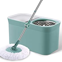 Magic Spin Mop,Premium Mop and Buckets Sets Stainless Steel 360 Degree Spin Mop Household Cleaning Mop Cleaning Tools,Gree...