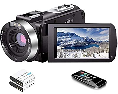 Video Camera Camcorder Full HD 1080P 30FPS 24.0 MP IR Night Vision Vlogging Camera Recorder 3.0 Inch IPS Screen 16X Zoom Camcorders YouTube Camera Remote Control with 2 Batteries from LINNSE