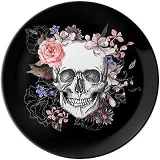 VunKo Rose Skull 8 Inch Plate Ceramic Dinner Plate Dinnerware Stoneware Dia De Los Muertos Home Decro Round Dish Dessert Plate