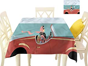 WilliamsDecor Dinning Table Covers Cars,Lady Driving Retro Automobile Fabric Tablecloth W 50