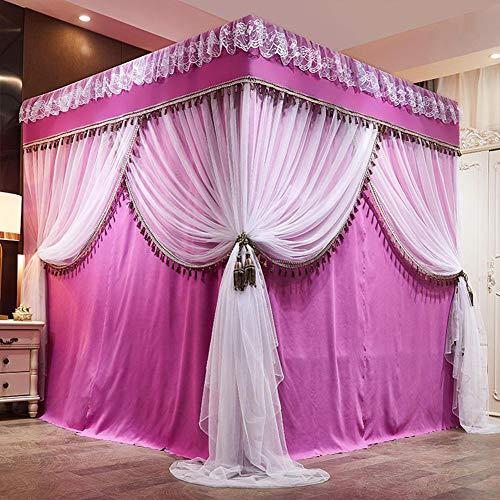 YXZN Luxus Prinzessin Vier Eckbett Vorhang Baldachin Überdachungen, Bett Mantel Für Mädchen Jungen Erwachsene Bett Geschenk Bettwäsche