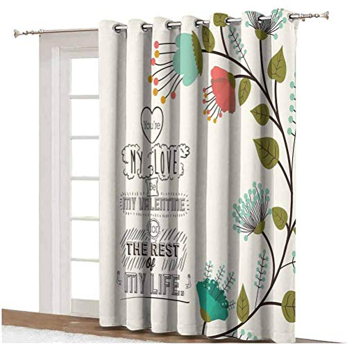 Valentines Day Decor Blackout Curtain Valentines Day Romanic Themed Floral Flowers with Leaves Art Print Grommets Panels Printed Curtains ,Single Panel 100x108 inch,for Glass Door Multicolor