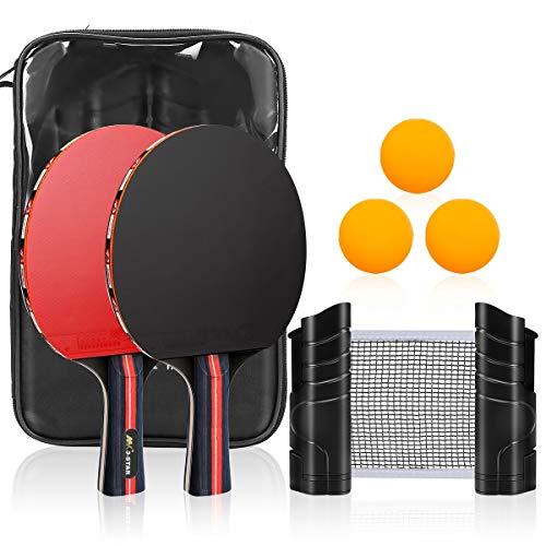 Paleta de Ping Pong, CestMall Juego de Tenis de Mesa de 2 Palas de Ping Pong y 3 Pelotas de Tenis de Mesa, Red retráctil, Bolsa de Almacenamiento, Juegos de Tenis de Mesa Profesionales