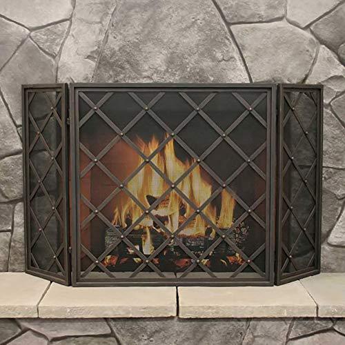 Panel 3 Kamin Bildschirm, Schmiedeeisen Freistehende Tor, Innen Großes Flach Schutz Dekor Mesh-Gasherd Zubehör, Schwarz, 31 H × 60 W