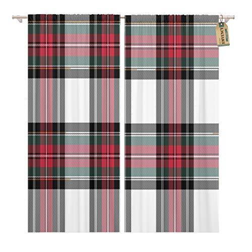 Golee Window Curtain Red Plaid Dress Stewart Tartan No Gradients Abstract Black Home Decor Pocket Drapes 2 Panels Curtain 104 x 63 inches