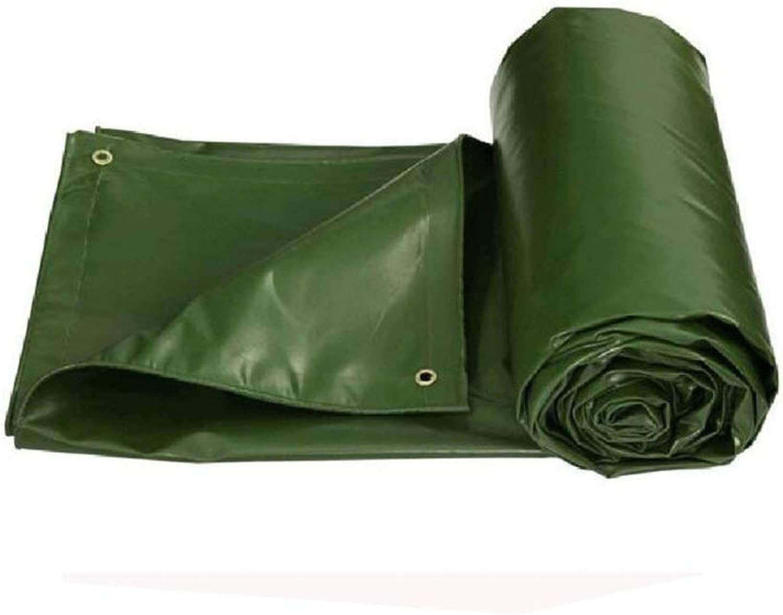 ZX タープ 厚くする防水シート厚さ0.6mmアウトドアPVC防水布レインプルーフキャンバス550G/M 2 テント アウトドア (Color : 緑, Size : 5x6m)
