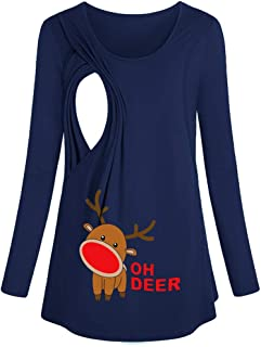 Merry Christmas! Double Layers Nursing Tops,Cartoon Ohh Deer Xmas Printed Maternity Clothes Autumn Blouse