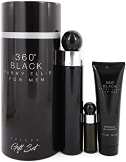 Perry Ellis Fragrances Perry Ellis 360 Black for Men - 3-piece Gift Set Canister, 3.4 Fl Oz